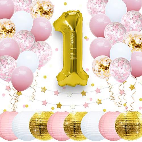 Nicrolandeeazb Geburtstagsparty-Dekorationen für Babyparty, Glitzer, goldene Laterne, 1. Folienballon, Buchstabenbanner, Stern, Papiergirlande und Konfetti für Baby Junge oder Mädchen rose