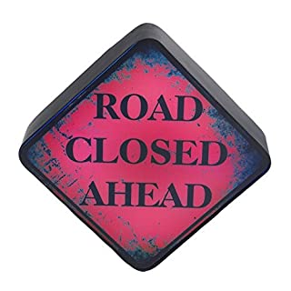 Red & Black Metal & Acrylic 'Road Closed Ahead' LED Light Box Wall Sign