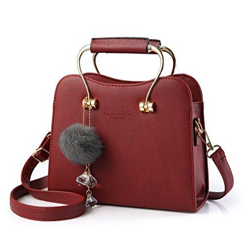 Frau Messenger Tasche PU-Leder Umhängetasche Handtasche Normallack carminered