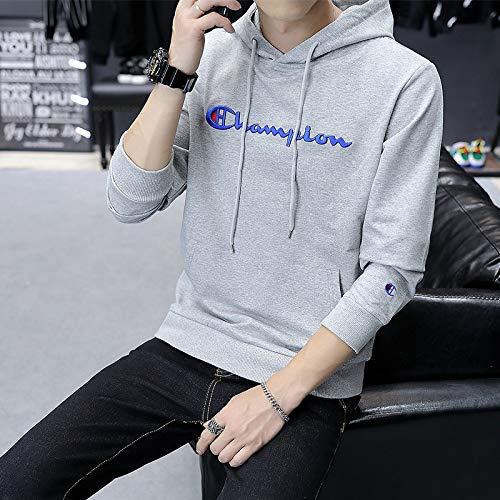jiuyaomai Sweatshirt Maglione Dolcevita da Uomo Ricamato Giacca Grigio XL