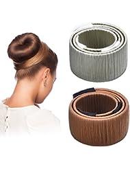 Hotop Cheveux Bun Maker Cheveux Donut Bun Ancien Clip en Mousse de Coiffure Outil de Bricolage, 2 Pièces