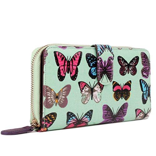 Miss Lulu , Damen Umhängetasche Einheitsgröße Butterfly Purse Green