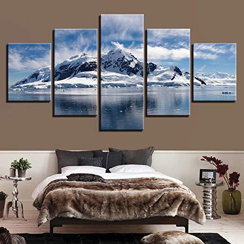LovelyHomeWJ Dekorative malerei Inkjet Hause fünf Schnee Gipfel Landschaft Spray malerei kreative Handwerk malerei 40x60cm2 40x80cm2 40x100cm1 -