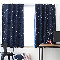 Fdit Room Darkening Blackout Window Curtains Space Inspired Night Sky Twinkle Star Curtain Super Soft Polyester Panels for Nursery Home Decoration 96 x 206 cm