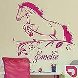DESIGNSCAPE® Wandtattoo Pferd im Sprung mit Name | Springendes Pferd Wandtattoo mit Wunschname 59 x 60 cm (Breite x Höhe) pink DW808136-S-F28