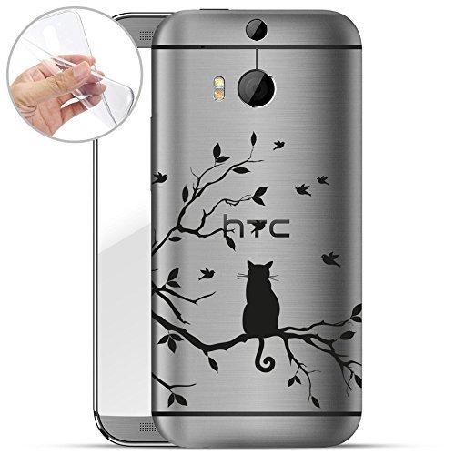 Finoo | HTC One M8 Weiche Flexible Silikon-Handy-Hülle | Transparente TPU Cover Schale mit Motiv | Tasche Case Etui mit Ultra Slim Rundum-Schutz | Katze auf AST
