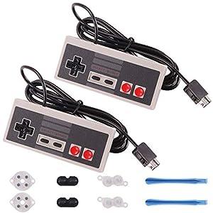 Rantecks NES Classic Controller 5-in-1-Set mit 2er-Pack NES Classic Controller und leitfähigen Klebepads Ersatz für Super Nintendo Classic Edition 2017 und NES Classic Mini 2016