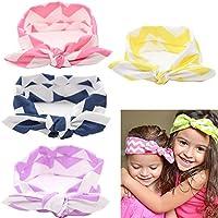Hxhome Baby Girl Turbante fascia per capelli fiocchi Croce Nodo Clip per capelli per bambini, 4