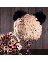 Qiaoba- Mme élégante chaude chaude en tricot chapeau en cuir chapeau en paille