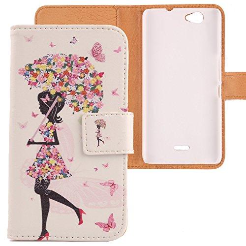 Lankashi PU Flip Leder Tasche Hülle Case Cover Schutz Handy Etui Skin Für Wiko Getaway Umbrella Girl Design