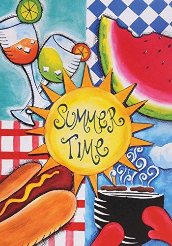 Toland Home Garten-Flagge, 71,1 x 101,6 cm, dekorative Wassermelone, Hotdog, Picknick, Grill, Sonnenschein