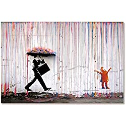 HTRO   Colorful Rain Wall Art Canvas Painting Home Decor Artwork Posters and Prints Wall Pictures Sin Marco, GH0302,30X45cmX1pc