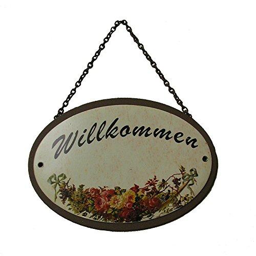 Metallschild Gartenschild Willkommen oval 18 x 5 cm zum Hängen Metall -