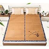 WENZHE Matratzen Matratze Schlafmatten Bambus Schlafmatte Eis Seide Sommerschlafmatte Gewebte Zusammenklappbar Glatt, 5 Größen, 2 Arten Strohmatte Teppiche