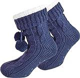 normani Damen Warme Dicke Wintersocken mit Innenfell Teddyfutter und Antirutschsohle Farbe Marine Größe 36/40