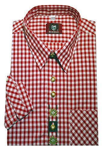 Trachtenhemd weiß-rot XXXXXL