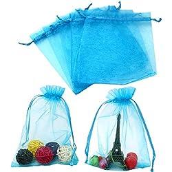 jijAcraft 100 Stück extra groß 13 cm x 18 cm Organza saeckchen Geschenk Beutelchen Hochzeit Beutel Für Festival Party Und Hochzeit Bonbonsbeutel Hochzeit Geschenk Geburtstag (Blau)