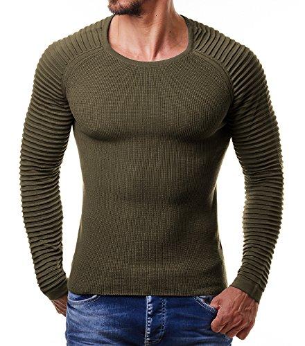 EightyFive Herren Feinstrick-Pullover Gerippt Streifen Weiß Blau Schwarz EF1695, Größe:L, Farbe:Khaki (Grüne Streifen-baumwoll-pullover)