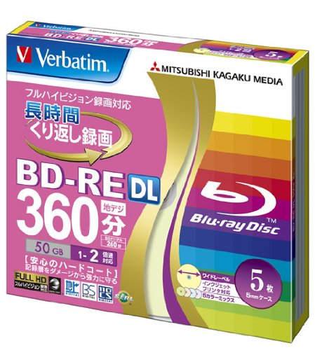 verbatim-mitsubishi-blu-ray-re-writable-disc-5-pack-bd-re-dl-50gb-2x-color-mix-label-ink-jet-printab