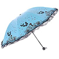 Sun Umbrella UV Parasol Small Lightweight Butterfly Lace Folding Umbrellas 210T Parasols Waterproof 8 Bones for Lady Women Umbrella in Summer