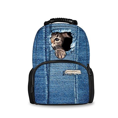 Imagen de injersdesigns casual  mujer hombre viaje  laptop school bags para adolescentes denim perro gato alumnos bookbags para niñas niños c3302a