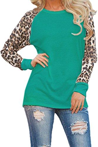 Frauen Leopard Lange Ärmel Chiffon Locker Bluse Locker Top - T Shirt Blusen Green L (Green Leopard)