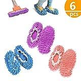 kitteny mop Slippers,mop Scarpe, Multi Funzione Ciniglia Fibra Lavabile Piano Pulizia Scarpe per Bagno Ufficio Cucina Casa Lucidatura Pulizia, 6 pz 3 Paia