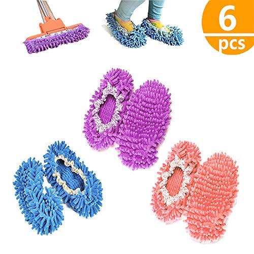 kitteny Mop Schuhe,3 Paare Einfach für Haus Boden Staub Schmutz Haare Reinigung,6 pcs -