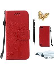 iPhone 7 Hülle,TOUCASA Lederhülle PU Leder Flip Tasche Case Katzen und Bäume Muster Handyhülle für Apple iPhone 7 + 1 x Eingabestift & Glitzer Staub Stecker