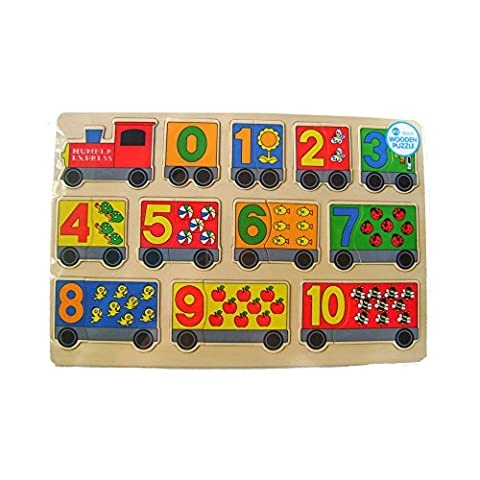 Fun Wooden Puzzle 22 Piece Number Red Express Train Design