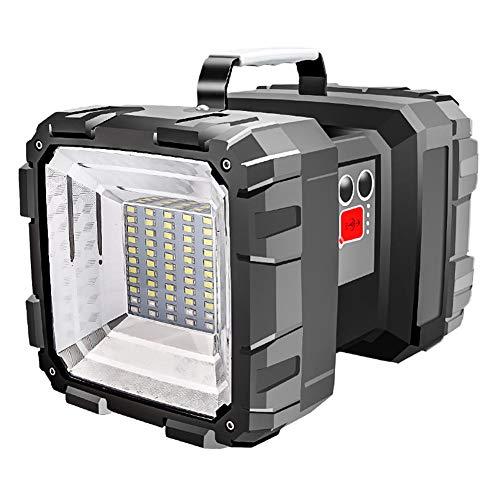Tragbare Außenleuchten, PER doppelter Kopf super helle Taschenlampe Scheinwerfer wiederaufladbare LED Fluter Handscheinwerfer mit eingebauter 10000mAH Batterie für Angeln, Wandern, Camping, Jagd Taschenlampe Scheinwerfer Scheinwerfer