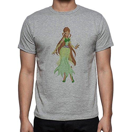 Winx Club Flora Simple Brown Hair Herren T-Shirt Grau