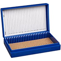 Heathrow Scientific HD15989A - Caja para portaobjetos (revestimiento interior de corcho, capacidad: 25 portaobjetos, longitud x anchura x altura: 141 mm x 88 mm x 35 mm), color azul