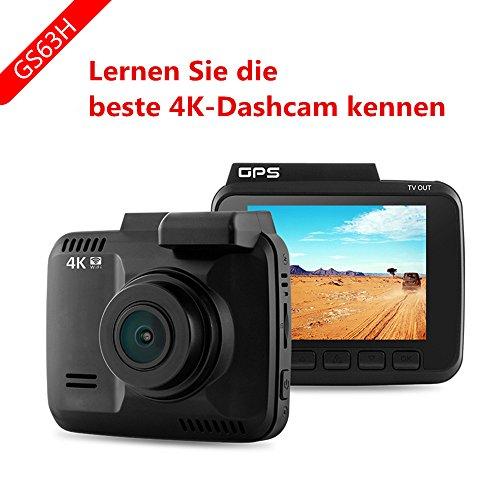 DashCam,Autokamera DVR Dashboard-Kamera Rekorder mit 4K FHD,eingebautes WiFi & GPS, APP- Support, G-Sensor, 2.4