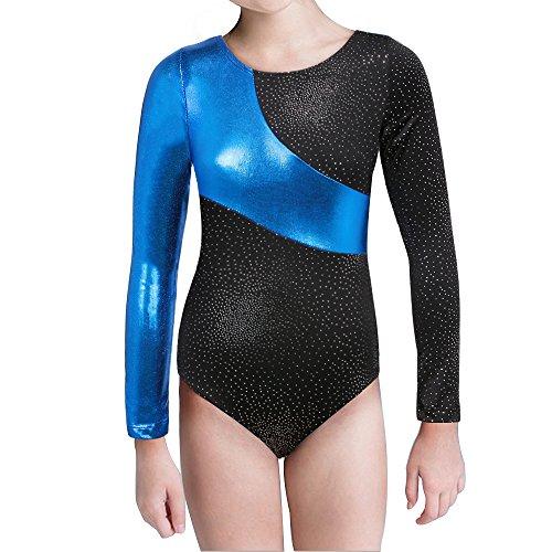Mädchen Gymnastik-Turnanzug Tanzkleidung lange Ärmel Regenbogen Streifen zum 2-15 Jahre (Blue, 140(7-8T)) (Gymnastik-turnanzug Mädchen)