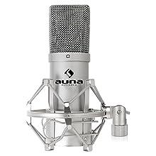 """AUNA MIC-900S - microfono a condensatore, cardioide, metallo, risposta frequenza 30 Hz-18kHz, capsula elettrete 16 mm, ragno adattatori filettati 3/8"""" 5/8"""", cavo USB, custodia, argento"""