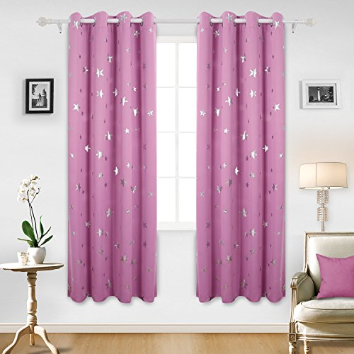 75e7d4d20cee Deconovo Stars Foil Printed Thermal Insulated Ready Made Curtains Eyelet  Blackout Curtains for Livingroom 46 x 72 Inch Pink One Pair - Buy Online in  UAE.