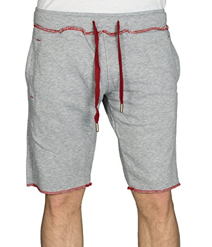 f02a4c0d7854 BetterStylz BandooZ kurze Jogging-Hose Sweat-Shorts Bermuda Kontrast  Fitness Hose div. Farben (S-XXL) (M, Grey Heather Red)