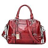 Le donne di grandi capacità borsetta designer famoso Boston Borsette Pelle Pu infiorescenza staminifera Tote Ladie Crossbody Borsa donna borsa a tracolla il vino rosso 30x13x20cm