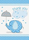 Umbrellaphants Blue Thank You Cards with Envelopes - Pack of 8