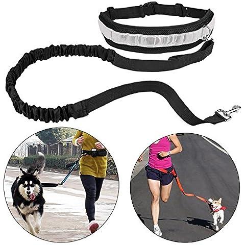 iAite Cinghia Elastica Running dog Guinzaglio Piombo Sport Jogging Walking Collare Dell'animale Domestico Corda mano Libera vita del Cane Guinzaglio set Spedizione Gratuita (nero)