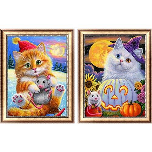 Leyzan 5D Diamantmalerei, Halloween, Katze und Maus, voller Bohrer mit Diamant-Kunst, Halloween, Halloween, Kürbis-Lampe, Kreuzstich, Stickerei, Wanddekoration, 30 x 40 cm, 2 Stück -