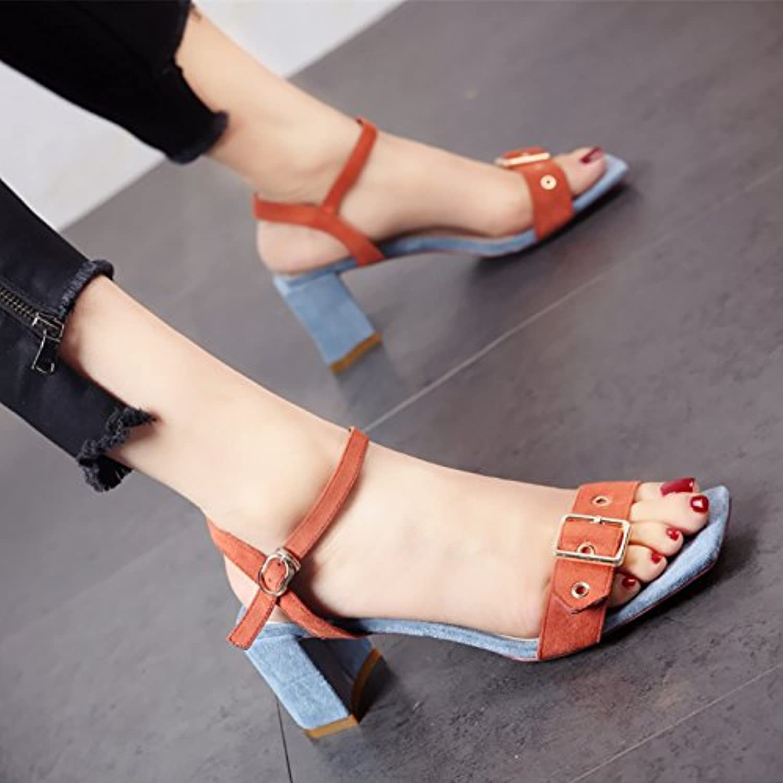 YMFIE Moda estate eleganza temperamento lady toe toe sandali piazza caviglia tacco alto scarpe tacco,39,dell'UE a | Qualità In Primo Luogo  | Uomini/Donna Scarpa