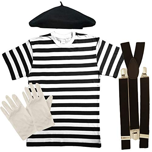 Artist Kostüm Mime French - Mens FRENCH MIME fancy dress 4 PIECE SET (Men: 46/48)
