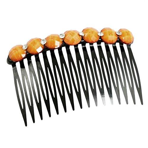 Lady Bling Bling Strass Akzent 16 Zähne Kamm-Haar-Pin Haarspange Orange Schwarz -