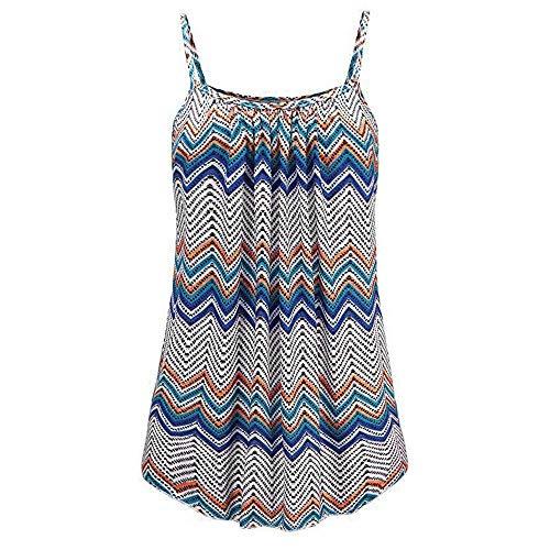 IMJONO T-Shirt for DamenFrauen Sommer gedruckt ärmellose Weste Bluse Tank Tops Camis Kleidung(Blau,XXXX-Large)