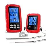 IDABAY Thermomètre Cuisine à Double Aiguille Sonde de Cuisson Numérique Thermomètre Alimentaire sans Fil Télécommande Digital à Cuisine Minuteur pour Griller Viande BBQ(Rouge)