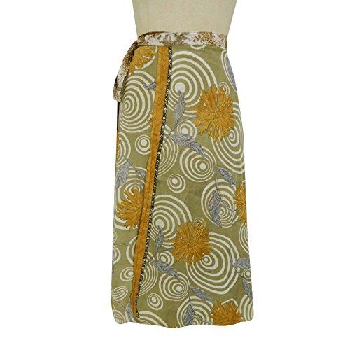 Zweischicht-Polyester Rock Wrap-Around-Plus Size Indische Kleidung Weiß