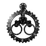 GoedYE Invotis Wand Gear und Datum Uhr Schwarz/Silber – Groß – h68.5 cm X 55 cm [Energieklasse A+]