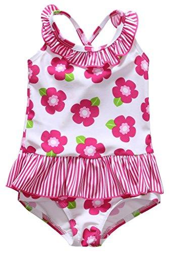 ALove Baby - Mädchen Einteiler Badeanzug Blumen Print Rüschen Spaghetti Träger Weiß 6-12 Monate